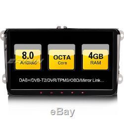 9Android 8.0 Autoradio GPS DAB+for Passat Golf Mk5/6 Touran Sharan Seat Skoda