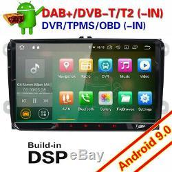 9Android 9.0 Autoradio USB GPS DAB+WiFi For PASSAT GOLF TOURAN SHARAN EOS SKODA