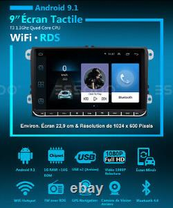 9 AUTORADIO RDS Android 9.1 GPS NAVI +Caméra For VW GOLF 5 6 Passat Touran Polo