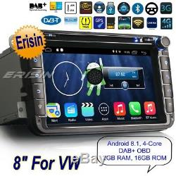 TNT Autoradio Android 8.1 For VW T5 Seat Skoda Golf MK5 Passat DAB+ TPMS 83315F