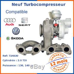 Turbo Turbocompresseur Neuf pour Skoda Octavia 2.0 TDI 724930-5006S 724930-5008S