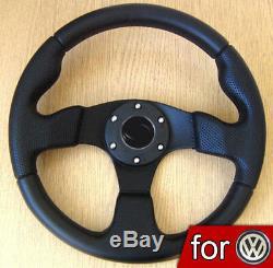 Volant Auto Sport 320mm Noir pour VW GOLF 1 2 3 4 GTI Polo T4